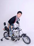 Moto boy rider. Close up moto boy rider on white background Stock Photography
