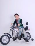 Moto boy rider. Close up moto boy rider on white background Royalty Free Stock Images