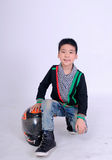 Moto boy rider. Close up moto boy rider on white background Stock Photo