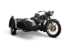 Moto classique noire avec le sidecar Images libres de droits