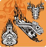 Moto compositions - set 7. Motorcycle compositions with use of a flame, engines, exhaust pipes and skulls Royalty Free Stock Photo
