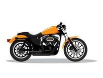 Moto détaillée classique dans la conception plate de style Vue de côté Illustration de vecteur illustration stock