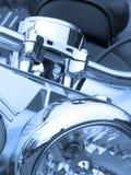 Moto dans le bleu Photos stock