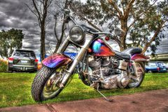 Moto de Harley Davidson d'Américain peinte par coutume image stock
