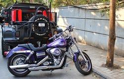 Moto de Harley Davidson Super Glide dans l'Inde Photographie stock