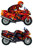 Moto de vitesse avec la personne Photographie stock