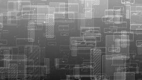 Moto dei quadrati digitali astratti Animazione senza cuciture del ciclo del fondo grigio di tecnologia illustrazione di stock