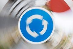 Moto del segno della rotonda Fotografie Stock
