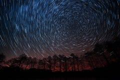 Moto delle stelle intorno alla stella polare Immagine Stock