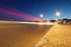 Moto di notte sulle vie urbane Fotografia Stock Libera da Diritti