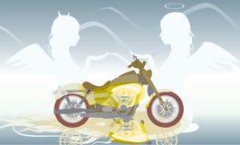 Moto et deux anges illustration de vecteur
