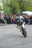 Moto free style pilot stunting on the square Stock Images