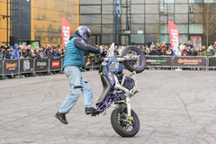Moto freestyle on a bike. Royalty Free Stock Images