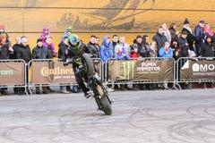Moto freestyle on a bike. Royalty Free Stock Photos
