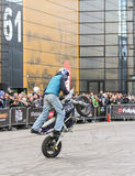 Moto freestyle on a bike. Royalty Free Stock Photography