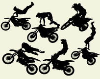 Moto freestyle set. Motocross jumping riders, freestyle,  silhouettes vector set Stock Photo