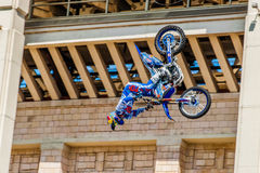 Moto Freestyle show FMX Masters. Moscow, July 26, 2014 Royalty Free Stock Photography
