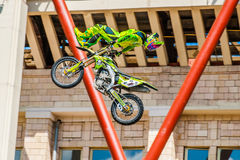 Moto Freestyle show FMX Masters. Moscow, July 26, 2014 Royalty Free Stock Photo