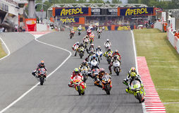 Moto Grand Prix of Catalonia. BARCELONA - JUNE 3: Some motorcycle riders compete at the race of Moto 2 Grand Prix of Catalunya, on June 3, 2012 in Barcelona Stock Photography