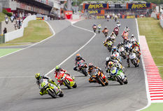 Moto Grand Prix of Catalonia. BARCELONA - JUNE 3: Some motorcycle riders compete at the race of Moto 2 Grand Prix of Catalunya, on June 3, 2012 in Barcelona Royalty Free Stock Photography