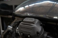 Moto Guzzi种族自行车的活塞的片段 特写镜头 库存图片
