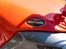 Moto Guzzi motorcycle. Berlin, Germany - May 4, 2018: Moto Guzzi motorcycle. Established in 1921, Moto Guzzi is an Italian motorcycle manufacturer and the oldest Royalty Free Stock Image