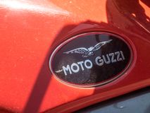Moto Guzzi motorcycle. Berlin, Germany - May 4, 2018: Moto Guzzi motorcycle. Established in 1921, Moto Guzzi is an Italian motorcycle manufacturer and the oldest Stock Photos