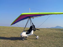Moto hang glider. Before rise in the sky royalty free stock images