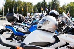Moto helmet on motorcycle Royalty Free Stock Photo