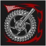 Moto Logo Symbol binnen wiel en stammen Stock Foto's