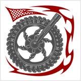 Moto Logo Symbol insidahjul och stam- royaltyfri illustrationer