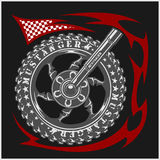 Moto Logo Symbol à l'intérieur de roue et de tribal Photos stock