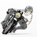 Moto mignonne d'équitation de garçon de bande dessinée illustration libre de droits