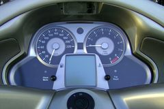 Moto panel. Display, motorcycle, gray royalty free stock photography