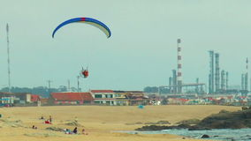 Moto paragliding. Portugal stock footage