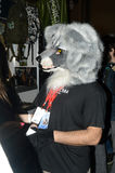 Moto Park in 2015. The mascot costume wolf. Motor show Stock Photography