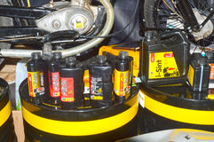 Moto Park 2015 products known firm emi. Engine oil, etc. Motor show Stock Photos