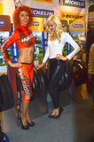Moto Park 2015 Spectacular models operate on a stand-known manufacturer of protectors. Moto show Royalty Free Stock Image