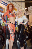 Moto Park 2015 Spectacular models operate on a stand-known manufacturer of protectors Stock Images