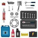 Moto parts with tools. Stock Photo