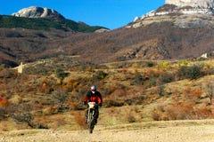 Moto racer en route Stock Photography