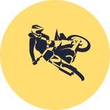 Moto racer extreme. Motocross fmx biker silhouette sticker design Vector illustration Royalty Free Stock Images
