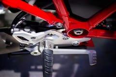 Moto rouge de cadre et de vitesse, vue supérieure Images stock