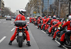 Moto Santa Claus. For Children charity event paraded to Belgrade Royalty Free Stock Photos