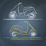 Moto scooter sketch on chalkboard Stock Image
