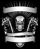 Moto squelettique d'équitation de motard avec des bannières graphiques Images stock