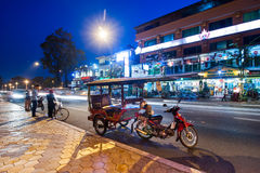 Moto taxi at asian city. Phnom Penh, Cambodia Royalty Free Stock Images
