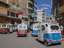 Moto taxis. In Juliaca Peru Royalty Free Stock Photos