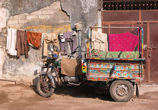Moto truck (India). A moto truck serving as transportation as well as living quarter...clothes hang to dry Royalty Free Stock Image
