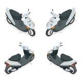 Moto, vélo, motocyclette, scooter Icône de haute qualité isométrique plate de transport de la ville 3d Photos stock